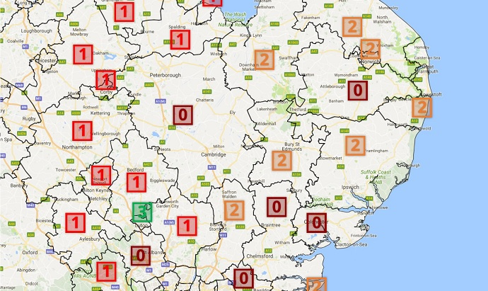 East Anglia CCG map IVF cycles