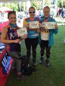 Jo, Rowena and Annika at the start of the 100km challenge.
