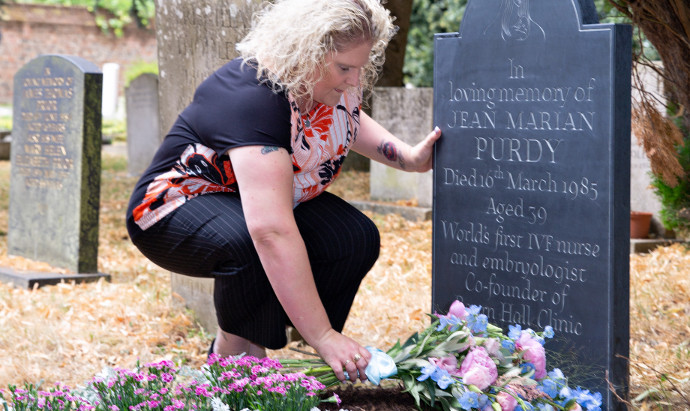 Louise Brown, the world's first IVF baby, laying flowers in honour of Jean Purdy, the first clinical embryologist and co-founder of Bourn Hall