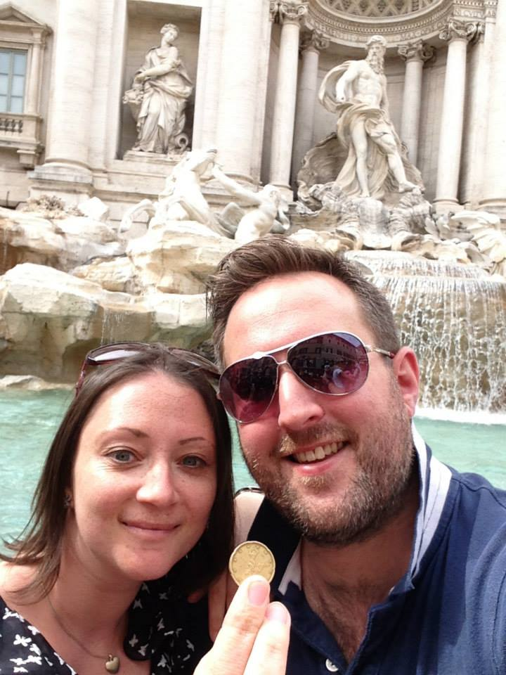 Us in Italy a few months after our second failure – making a wish at the Trevi fountain