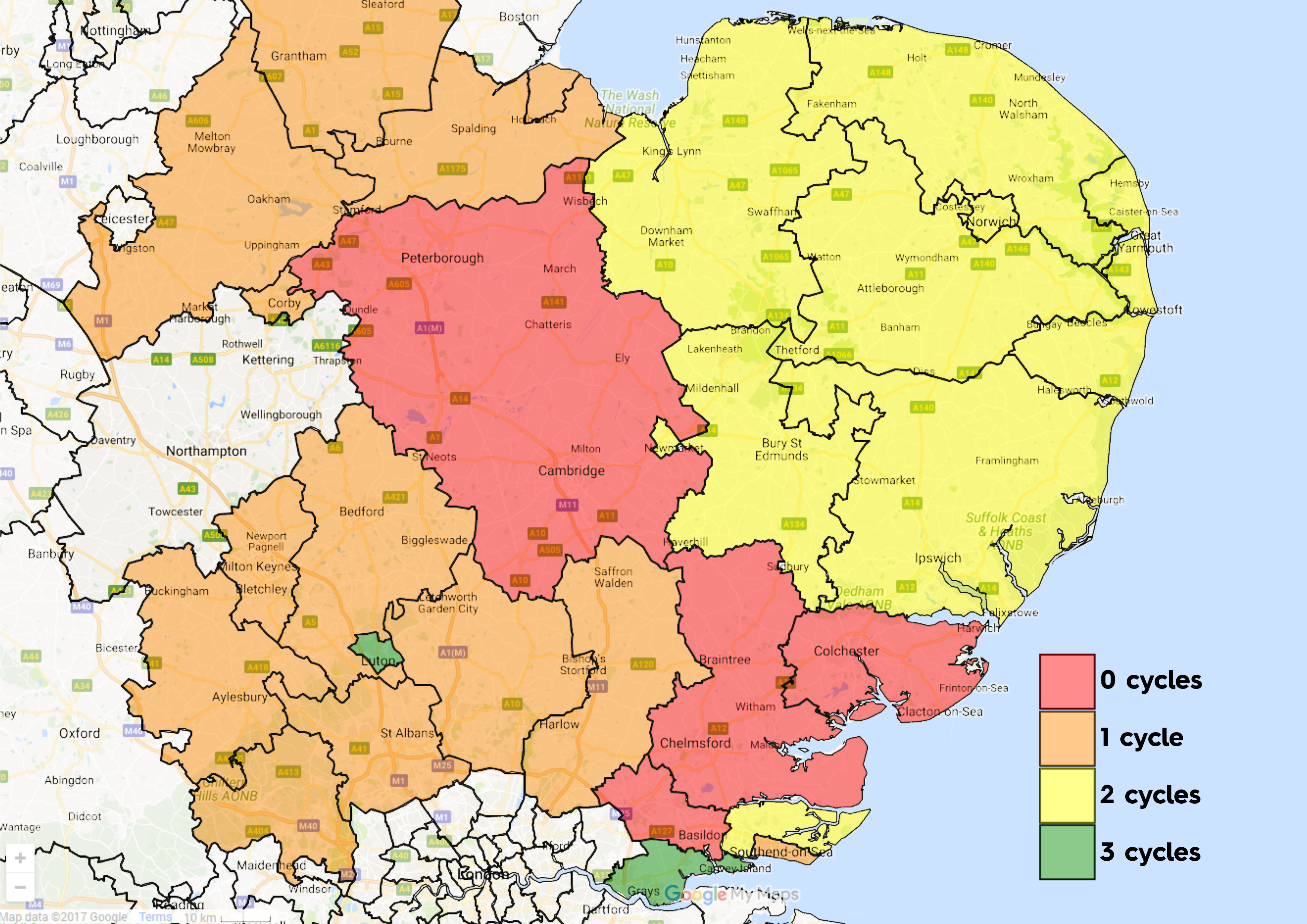 East Anglia CCG map Apr19 IVF Cycles