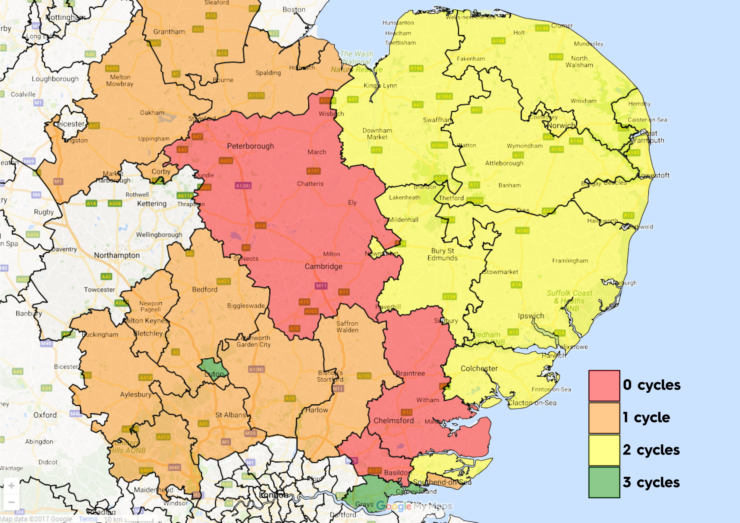 East Anglia CCG map Feb 2020 funding options for IVF