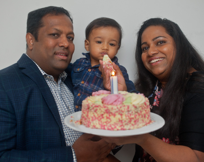 fertility advice Prasad and Krishani with Thimath and his birthday cake