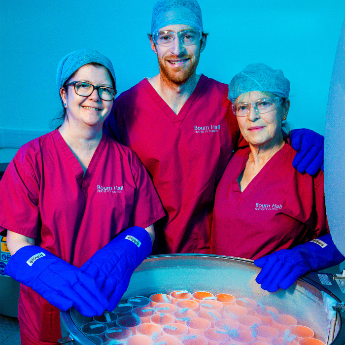 Jamie Facer-Childs with Anne O'Leary and Ro Facer opening frozen donor egg bank