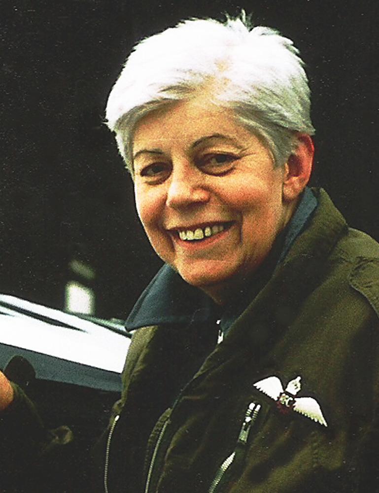 Muriel Harris in her flying jacket