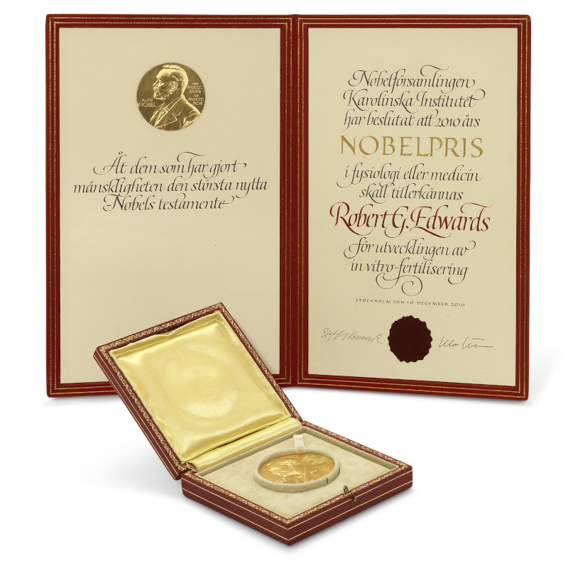 Robert Edwards' Nobel Prize [image kindly supplied by Christie's]