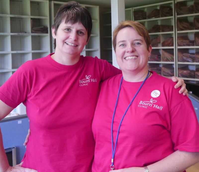 Zoe Archbold (Fertility Nurse Specialist) with Laura Carter-Penman on 'Wear It Pink Day'