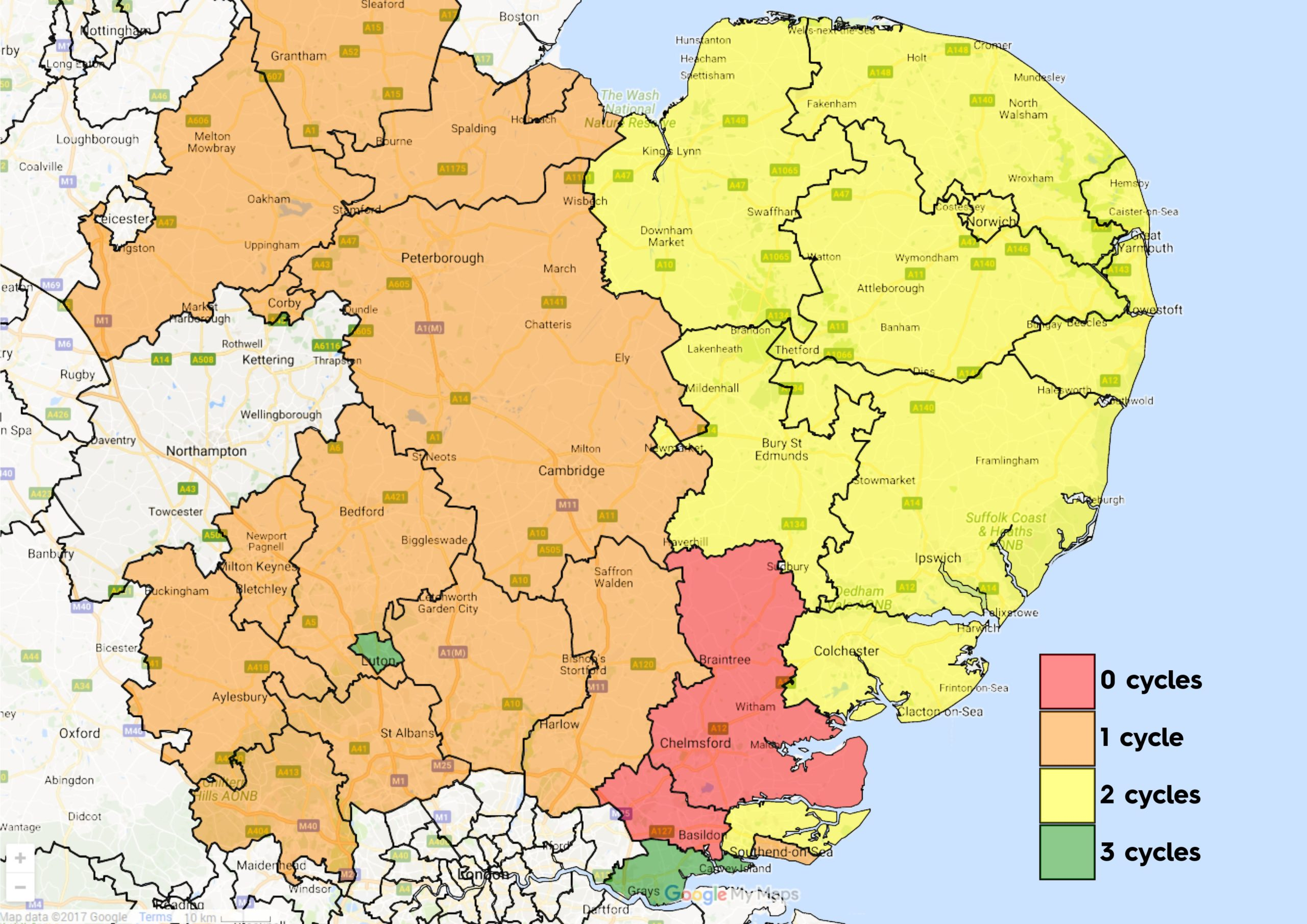 NHS IVF Funding Map for East of England (Jul 2021)