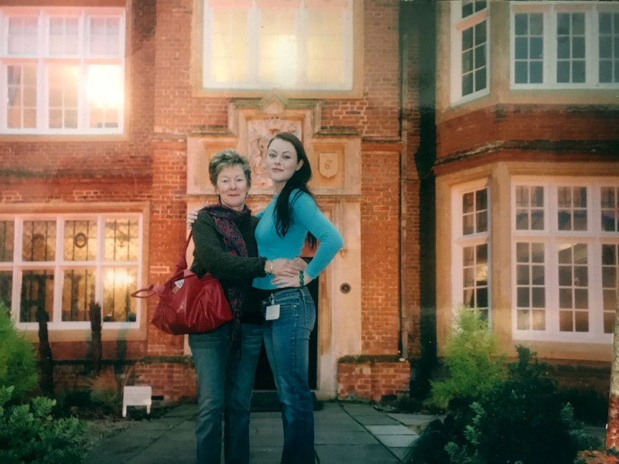 Judy and Rebecca outside Bourn Hall