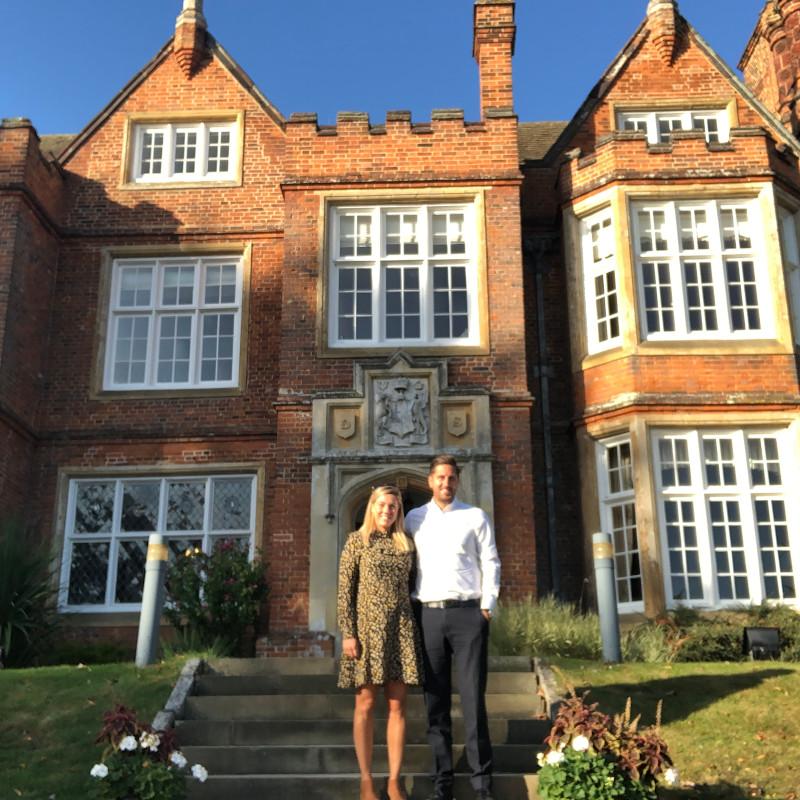 Jenna and Shaun outside Bourn Hall