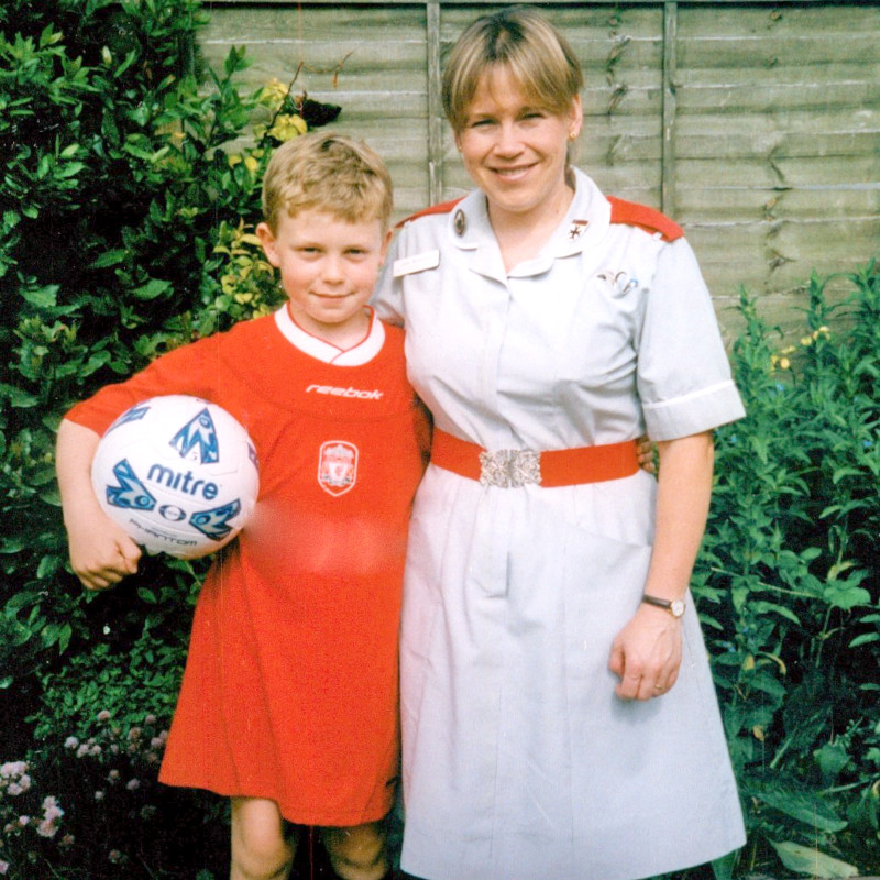 Julie with one of her sons in 2003