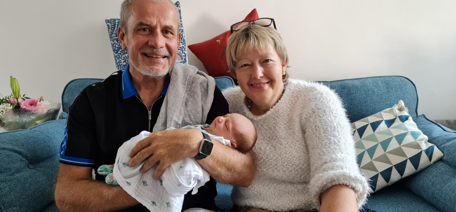 Proud grandparents Siobhan and Keith with their granddaughter